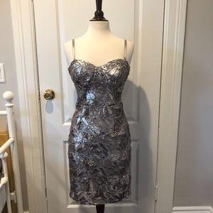 bebe Dresses - Sequined Lace Metallic Dress